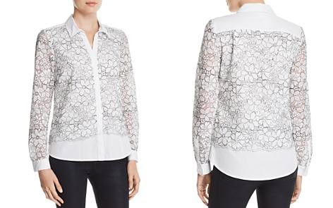 KARL LAGERFELD Floral-Embroidered Lace-Overlay Blouse - Bloomingdale's_2