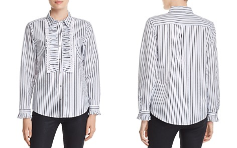 KARL LAGERFELD Ruffle-Trimmed Striped Blouse - Bloomingdale's_2
