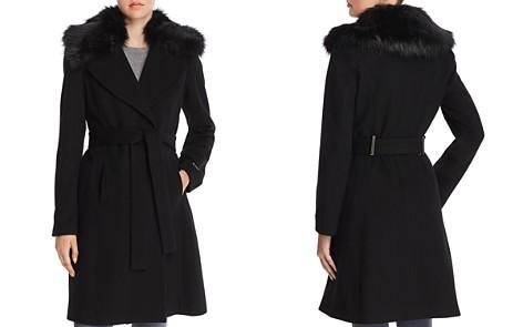 T Tahari Fiona Faux Fur Trim Wrap Coat - Bloomingdale's_2