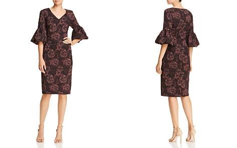 Aidan Mattox Floral Jacquard Bell-Sleeve Dress - Bloomingdale's_2