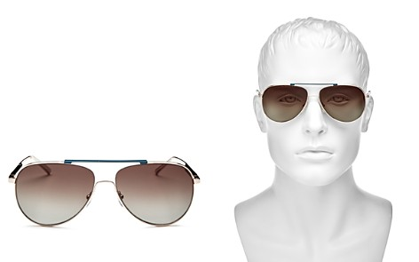 Salvatore Ferragamo Men's Brow Bar Aviator Sunglasses, 63mm - Bloomingdale's_2
