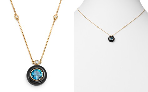 """Bloomingdale's Black Onyx, London Blue Topaz & Diamond Pendant Necklace in 14K Yellow Gold, 18"""" - 100% Exclusive_2"""