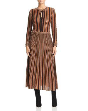 Marella Panteon Mixed Stripe & Metallic Effect Dress