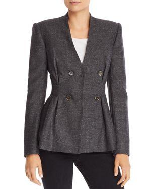 Speckled Herringbone Peplum Jacket, Gray