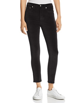 rag & bone/JEAN - High-Rise Velvet Cropped Skinny Jeans in Black
