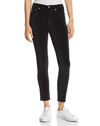 rag & bone/JEAN - High-Rise Velvet Cropped Skinny Jeans in Black