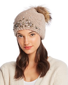 Echo Design - Fur Pom-Pom Embellished Beanie