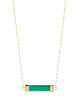 "MATEO - 14K Yellow Gold Malachite Bar Cable Necklace, 16"""
