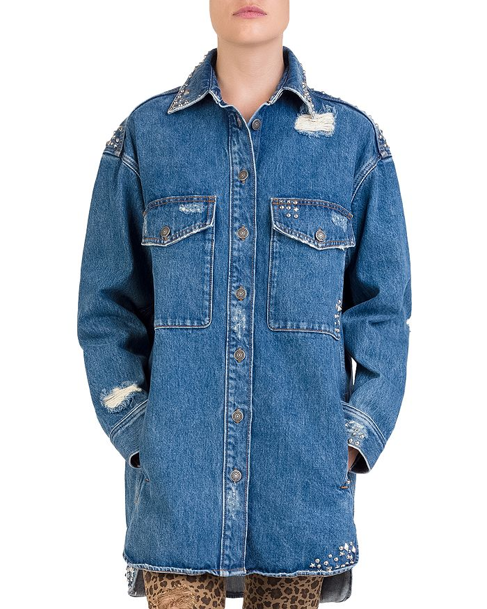 2ad233a0552 The Kooples Studded Distressed Denim Shirt   Bloomingdale's