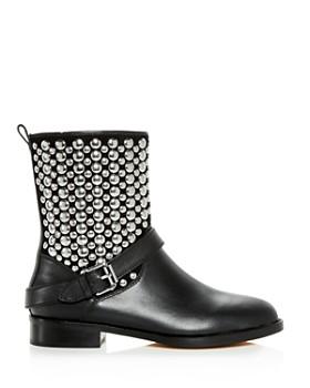 Rebecca Minkoff - Women's Saida Studded Leather Moto Boots