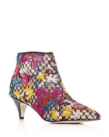 4a665ac24dff Sam Edelman Women s Kinzey Floral-Embroidered Kitten-Heel Booties ...