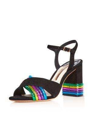 SOPHIA WEBSTER Joy Metallic Leather And Suede Sandals in Black