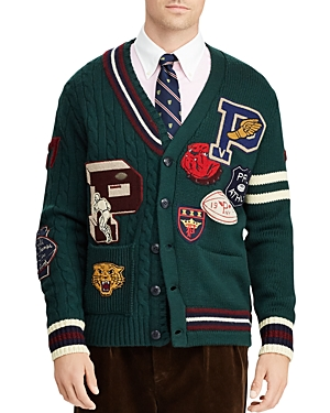 Polo Ralph Lauren Patchwork Merino Wool Letterman Cardigan