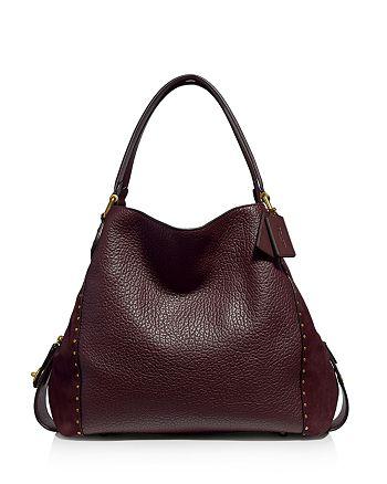 COACH - Edie 42 Rivet Leather & Suede Shoulder Bag