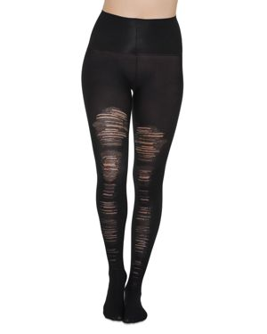 Destroyed Tummy-Shaping Tights in Very Black