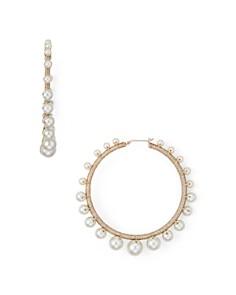 Rebecca Minkoff - Morroco Simulated Pearl Hoop Earrings