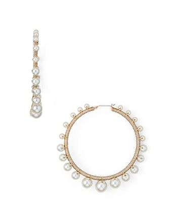 Rebecca Minkoff - Morroco Simulated Pearl Hoop Earrings