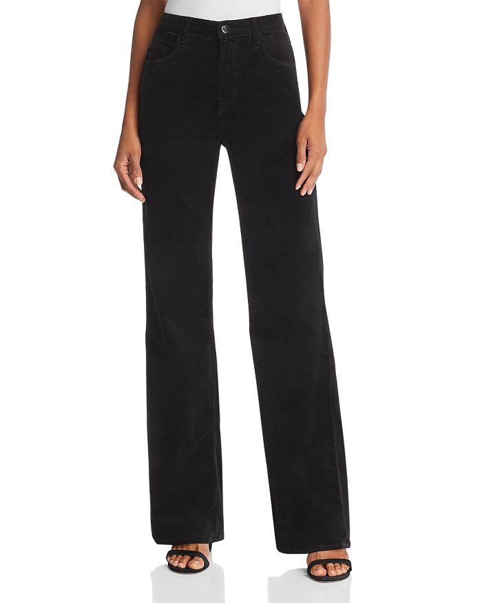 J Brand - Joan High Rise Wide-Leg Velvet Jeans in Black