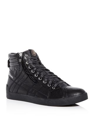 D-string Plus Leather High-top Sneakers