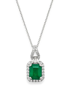 "Bloomingdale's - Emerald & Diamond Pendant Necklace in 14K White Gold, 18"" - 100% Exclusive"