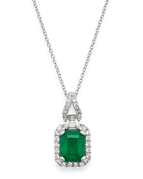 """Bloomingdale's - Emerald & Diamond Pendant Necklace in 14K White Gold, 18"""" - 100% Exclusive"""