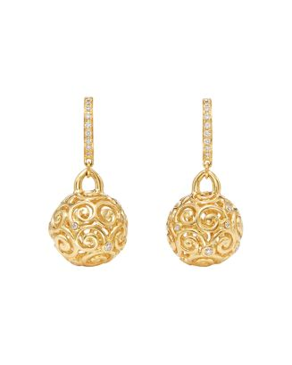 18 K Yellow Gold Lattice Diamond Drop Earrings by Temple St. Clair