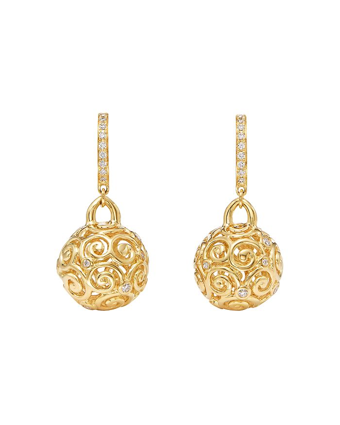Temple St. Clair 18k Yellow Gold Lattice Diamond Drop Earrings In White/gold