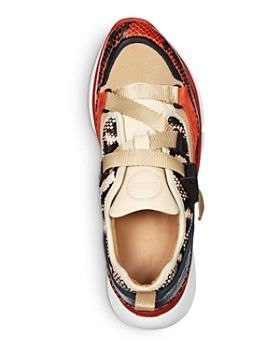 Chloé - Women's Sonnie Python Embossed Leather Low-Top Sneakers