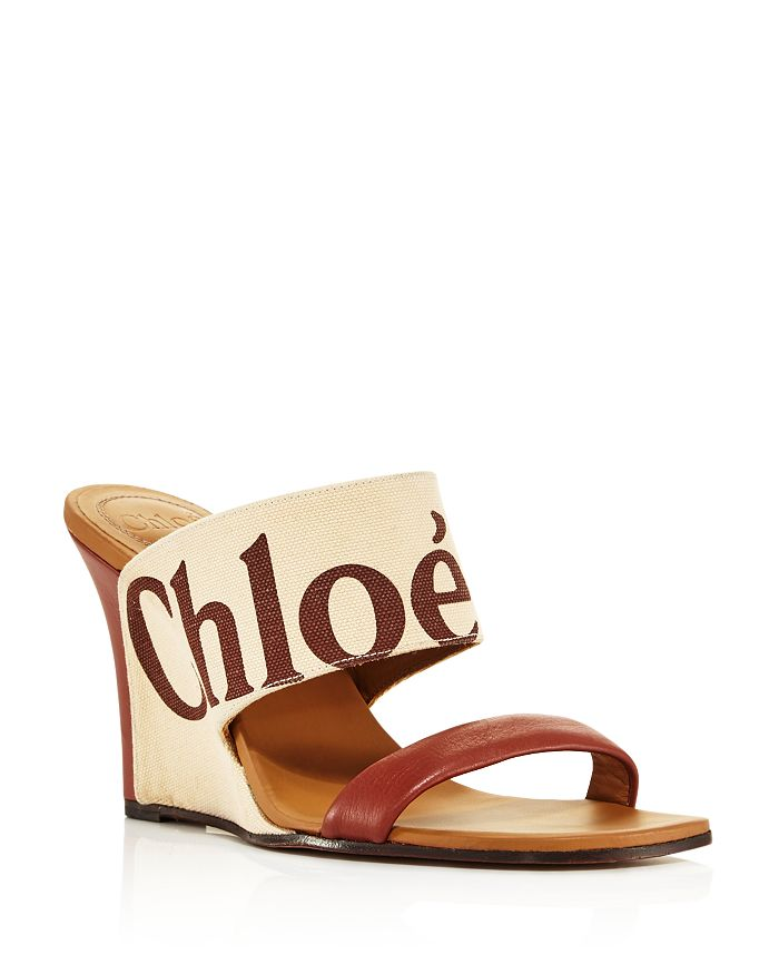 c22a30962 ... Wedge Sandals. Chloé - Women s Verena Leather   Canvas Logo ...