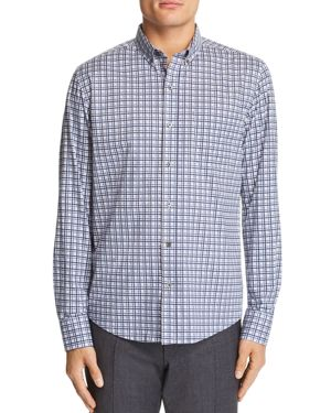 WRK Reworked Plaid-Print Regular Fit Button-Down Shirt in Navy/White