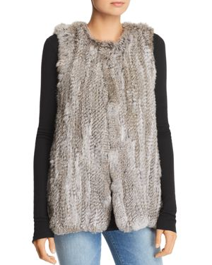 525 AMERICA Rabbit Fur Long Vest - 100% Exclusive in Natural Gray