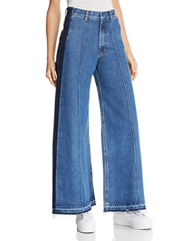 Ksenia Schnaider - Contrast Wide-Leg Jeans in Medium Blue
