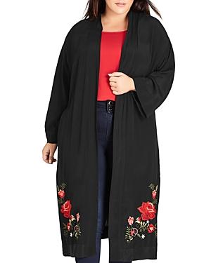 City Chic Plus Rose Embroidered Duster Kimono