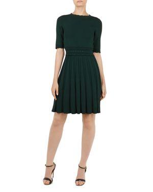 Dorlean Scalloped Knit Dress, Dark Green