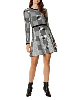 KAREN MILLEN - Check-Patterned Knit Fit-and-Flare Dress