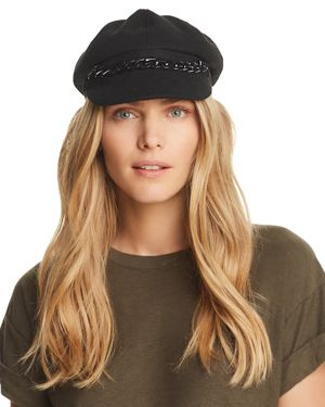 AUGUST HAT COMPANY Chain-Trim Newsboy Cap in Black