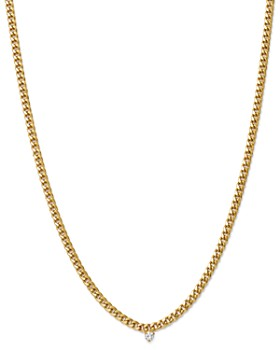 Zoë Chicco - 14K Yellow Gold Small Curb Chain Diamond Necklace, 16""
