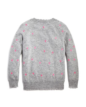 AQUA - Girls' Cashmere Embroidered Heart-Print Sweater, Big Kid - 100% Exclusive