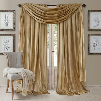 """Elrene Home Fashions - Athena 52"""" x 108"""" Crinkled Curtain Panels, Pair with Scarf Valance"""