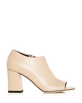 Via Spiga - Women's Eladine Leather Open Toe Block-Heel Booties