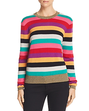 Pam & Gela Metallic-Trim Rainbow-Stripe Sweater