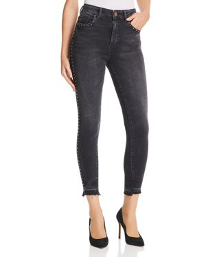 Chrissy Studded High-Rise Ankle Skinny Jeans, Holden