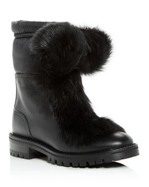 Jimmy Choo Women's Glacie Faux-Fur Pom-Pom Booties