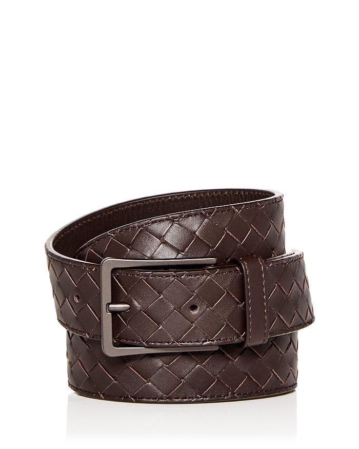 Bottega Veneta Men's Woven Leather Belt In Espresso