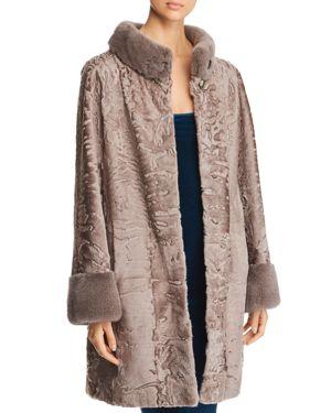 MAXIMILIAN FURS Persian Lamb Shearling Coat With Mink Fur Trim - 100% Exclusive in Moonlight