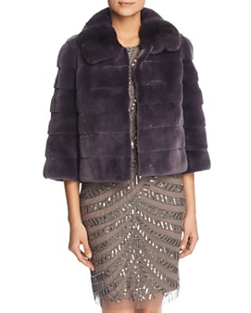 c402a627b0b Maximilian Furs - Plucked Mink Fur Bolero with Chinchilla Fur Trim ...