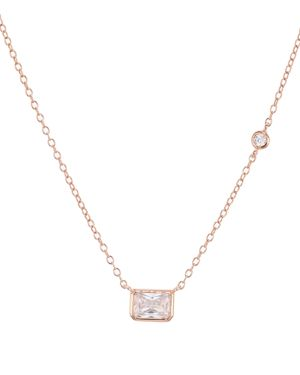 Aqua Radiant Pendant Necklace in 18K Rose Gold Tone-Plated Sterling Silver or Platinum-Plated Sterli