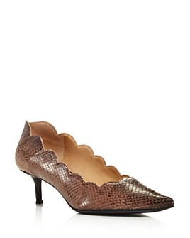 Chloé - Women's Lauren Pointed Toe Snakeskin-Embossed Leather Kitten-Heel Pumps