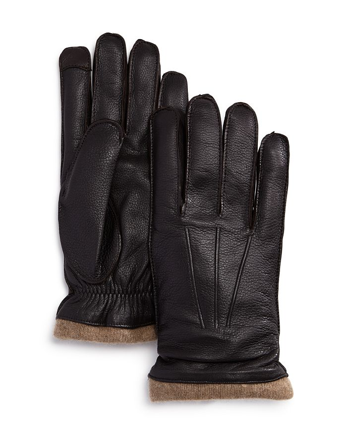 The Men's Store at Bloomingdale's - Knit-Cuff Leather Tech Gloves - 100% Exclusive