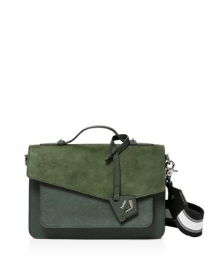 Cobble Hill Calfskin Leather Crossbody Bag - Green, Winter Green/Gunmetal